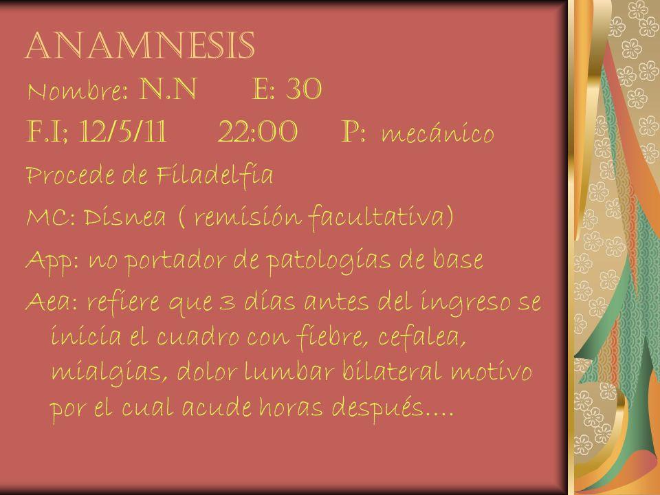 anamnesis Nombre : n.n e: 30 F.i; 12/5/11 22:00 p: mecánico Procede de Filadelfia MC: Disnea ( remisión facultativa) App: no portador de patologías de