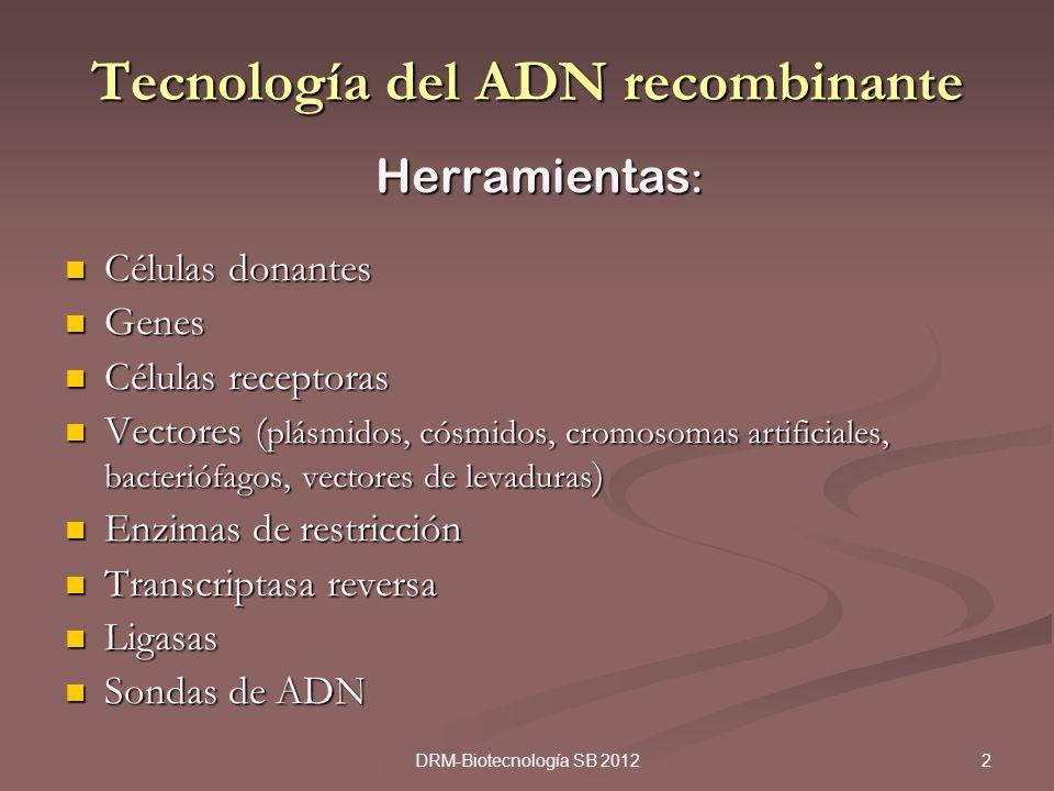 2DRM-Biotecnología SB 2012 Tecnología del ADN recombinante Herramientas : Células donantes Células donantes Genes Genes Células receptoras Células rec