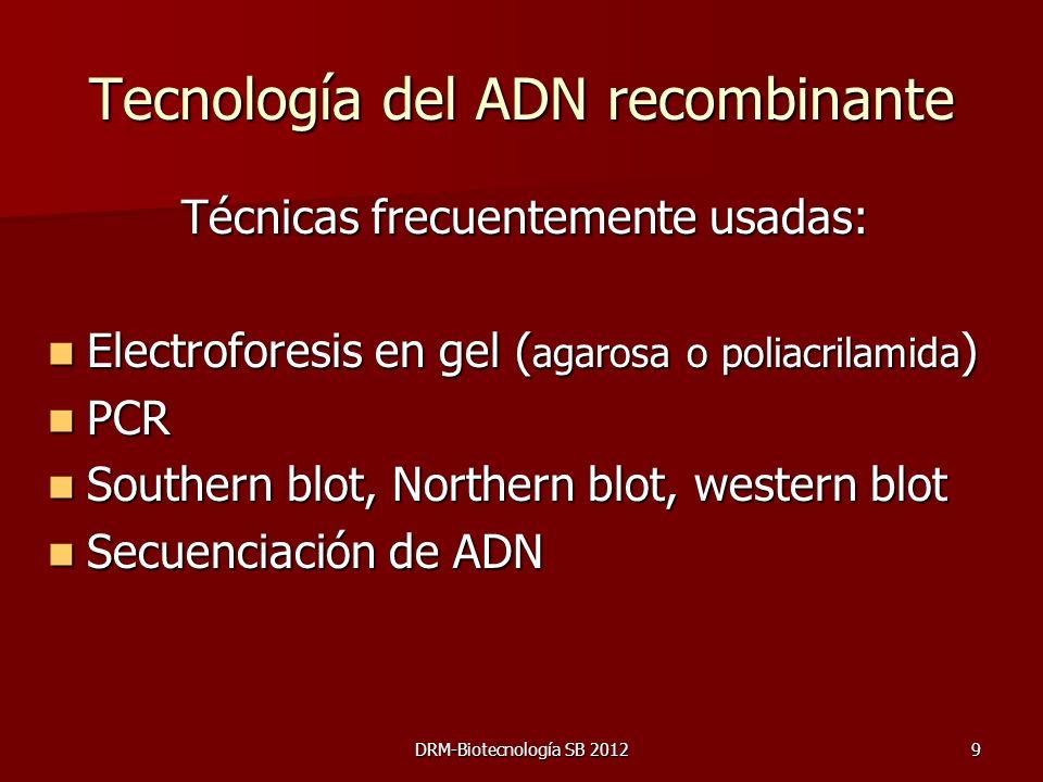 9 Tecnología del ADN recombinante Técnicas frecuentemente usadas: Electroforesis en gel ( agarosa o poliacrilamida ) Electroforesis en gel ( agarosa o