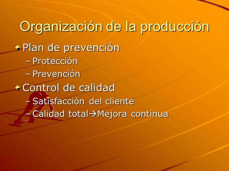 Organización de la producción Plan de prevención –Protección –Prevención Control de calidad –Satisfacción del cliente –Calidad total Mejora continua