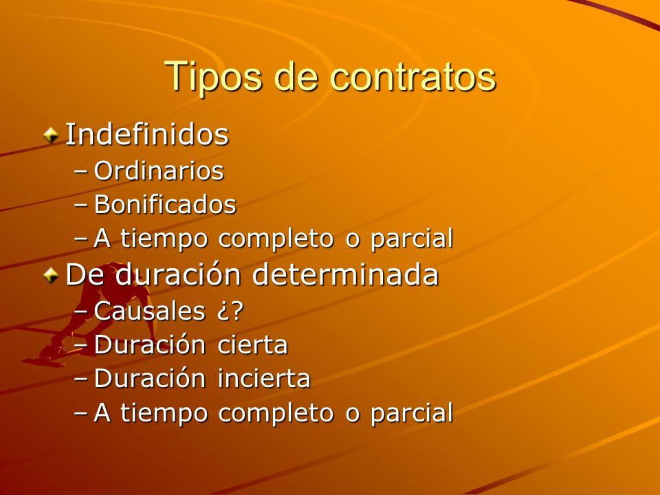 Tipos de contratos Indefinidos –Ordinarios –Bonificados –A tiempo completo o parcial De duración determinada –Causales ¿? –Duración cierta –Duración i