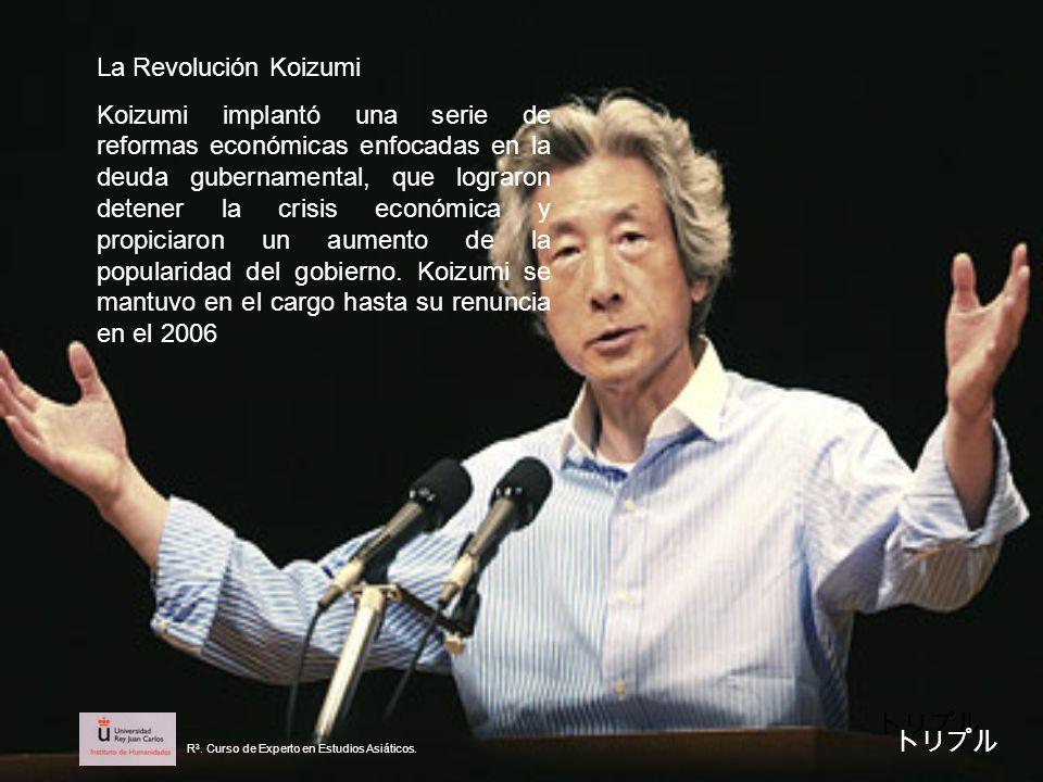 La Revolución Koizumi Koizumi implantó una serie de reformas económicas enfocadas en la deuda gubernamental, que lograron detener la crisis económica