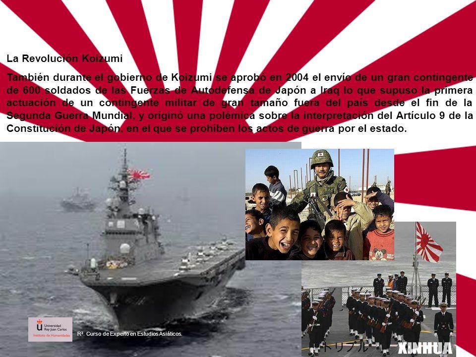 La Revolución Koizumi También durante el gobierno de Koizumi se aprobó en 2004 el envío de un gran contingente de 600 soldados de las Fuerzas de Autod