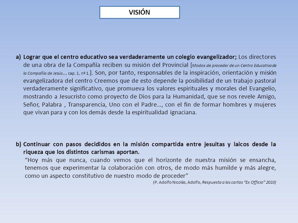VISIÓN a)Lograr que el centro educativo sea verdaderamente un colegio evangelizador; Los directores de una obra de la Compañía reciben su misión del P