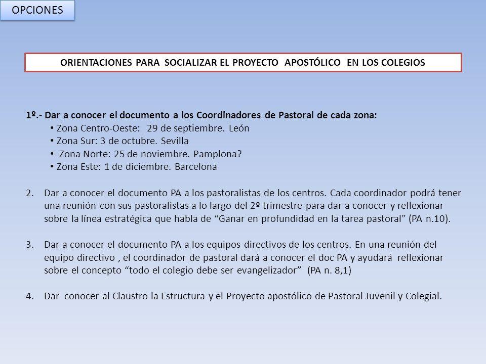 1º.- Dar a conocer el documento a los Coordinadores de Pastoral de cada zona: Zona Centro-Oeste: 29 de septiembre. León Zona Sur: 3 de octubre. Sevill
