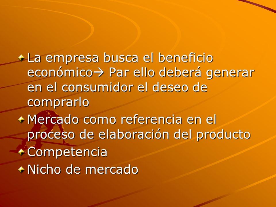 La empresa busca el beneficio económico Par ello deberá generar en el consumidor el deseo de comprarlo Mercado como referencia en el proceso de elabor