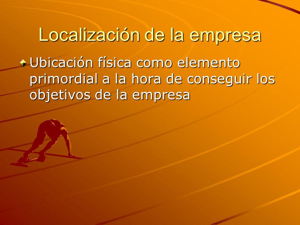 Localización de la empresa Ubicación física como elemento primordial a la hora de conseguir los objetivos de la empresa