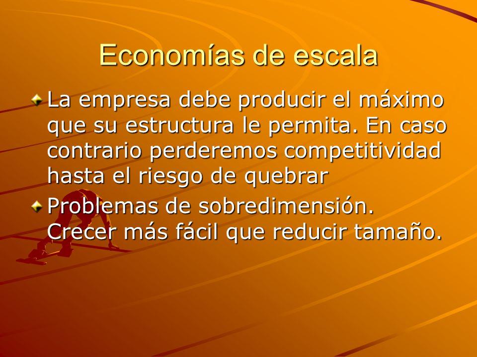 Economías de escala La empresa debe producir el máximo que su estructura le permita. En caso contrario perderemos competitividad hasta el riesgo de qu