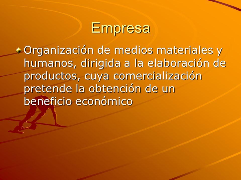 Empresa Organización de medios materiales y humanos, dirigida a la elaboración de productos, cuya comercialización pretende la obtención de un benefic