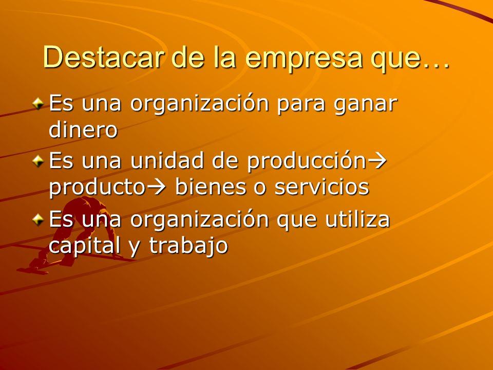 Destacar de la empresa que… Es una organización para ganar dinero Es una unidad de producción producto bienes o servicios Es una organización que util