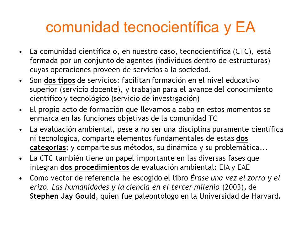 comunidad tecnocientífica y EA La comunidad científica o, en nuestro caso, tecnocientífica (CTC), está formada por un conjunto de agentes (individuos