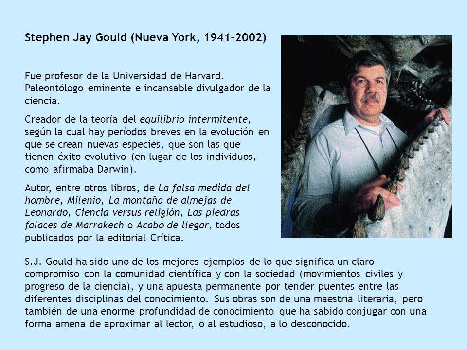 Stephen Jay Gould (Nueva York, 1941-2002) Fue profesor de la Universidad de Harvard. Paleontólogo eminente e incansable divulgador de la ciencia. Crea