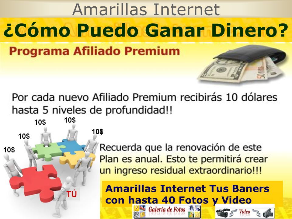 Amarillas Internet TÚ 10$ ¿Cómo Puedo Ganar Dinero? Amarillas Internet Tus Baners con hasta 40 Fotos y Video