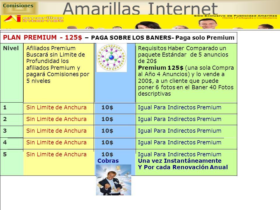 Amarillas Internet PLAN PREMIUM - 125$ – PAGA SOBRE LOS BANERS- Paga solo Premium Comisiones NivelAfiliados Premium Buscará sin Limite de Profundidad