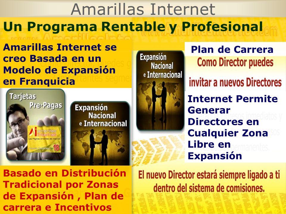 Amarillas Internet Un Programa Rentable y Profesional Amarillas Internet se creo Basada en un Modelo de Expansión en Franquicia Basado en Distribución