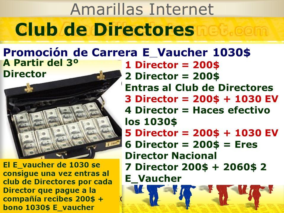 Amarillas Internet Club de Directores Promoción de Carrera E_Vaucher 1030$ 1 Director = 200$ 2 Director = 200$ Entras al Club de Directores 3 Director
