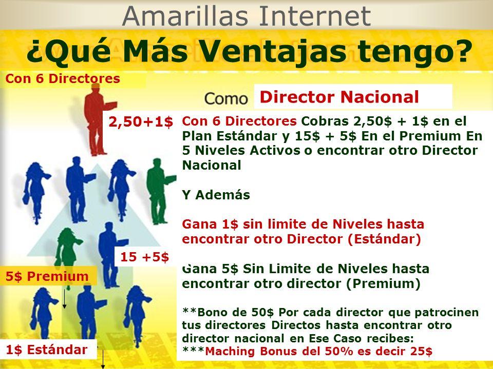 Amarillas Internet ¿Qué Más Ventajas tengo? Con 6 Directores Cobras 2,50$ + 1$ en el Plan Estándar y 15$ + 5$ En el Premium En 5 Niveles Activos o enc