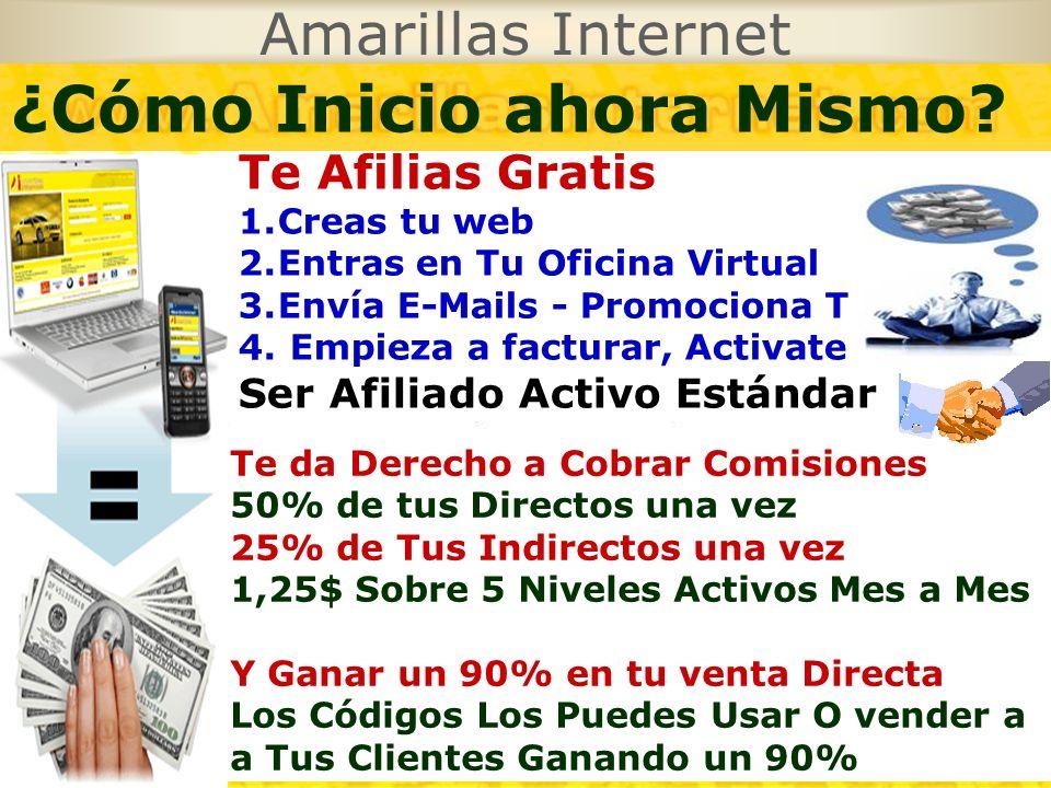 Amarillas Internet Te Afilias Gratis 1.Creas tu web 2.Entras en Tu Oficina Virtual 3.Envía E-Mails - Promociona Tu web 4. Empieza a facturar, Activate