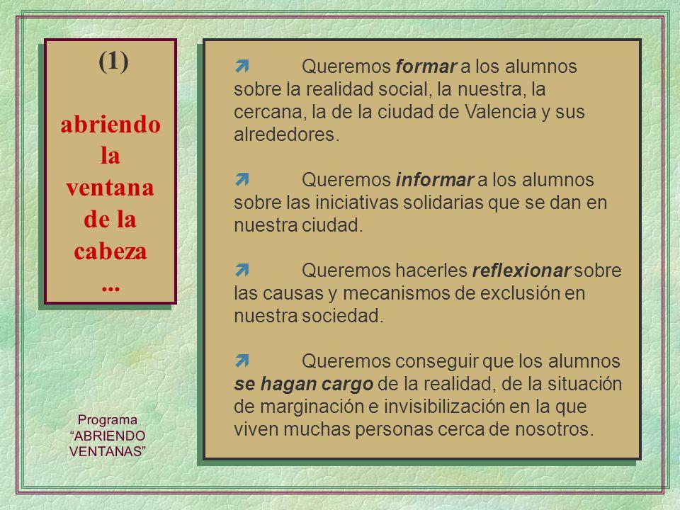 Programa ABRIENDO VENTANAS Queremos formar a los alumnos sobre la realidad social, la nuestra, la cercana, la de la ciudad de Valencia y sus alrededor