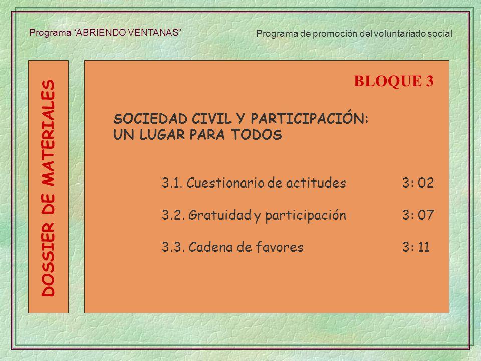 Programa ABRIENDO VENTANAS SOCIEDAD CIVIL Y PARTICIPACIÓN: UN LUGAR PARA TODOS 3.1. Cuestionario de actitudes3: 02 3.2. Gratuidad y participación3: 07