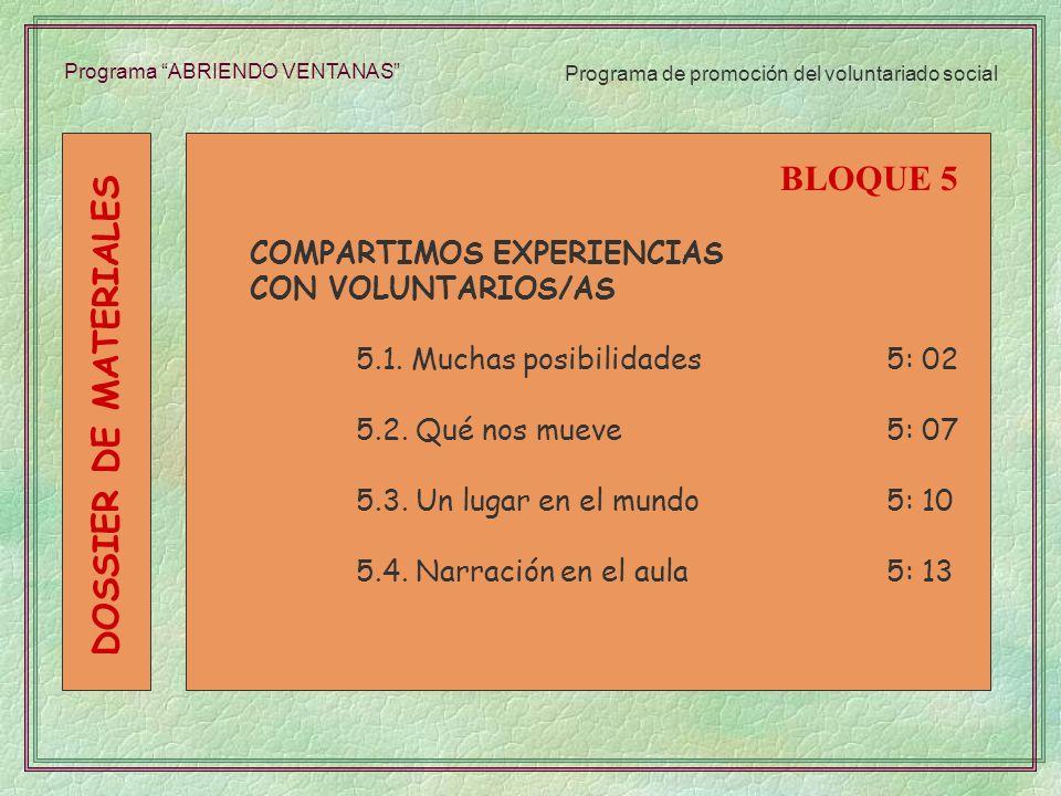 Programa ABRIENDO VENTANAS COMPARTIMOS EXPERIENCIAS CON VOLUNTARIOS/AS 5.1. Muchas posibilidades5: 02 5.2. Qué nos mueve5: 07 5.3. Un lugar en el mund