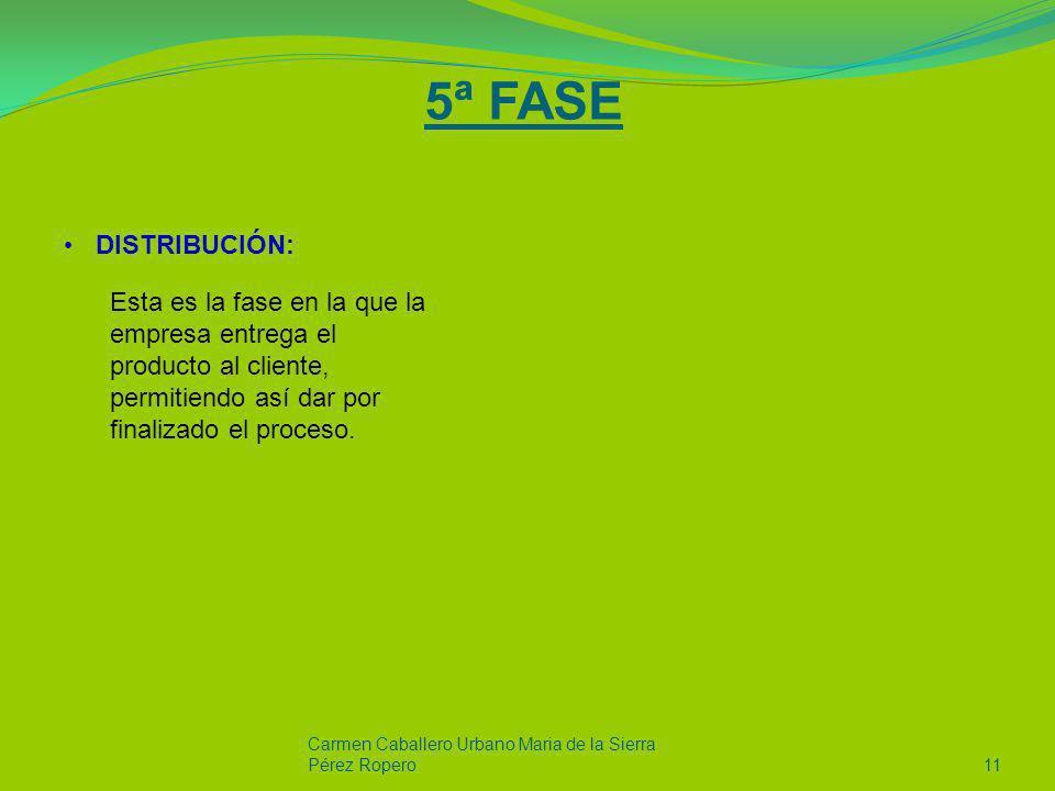 5ª FASE DISTRIBUCIÓN: Carmen Caballero Urbano Maria de la Sierra Pérez Ropero11 Esta es la fase en la que la empresa entrega el producto al cliente, p