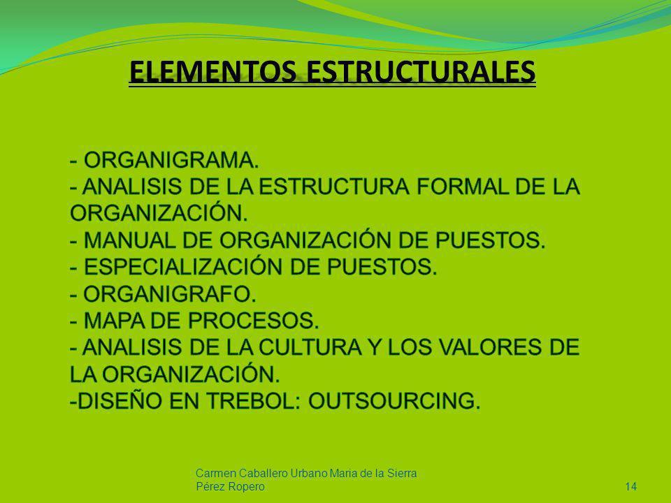 Carmen Caballero Urbano Maria de la Sierra Pérez Ropero14 ELEMENTOS ESTRUCTURALES