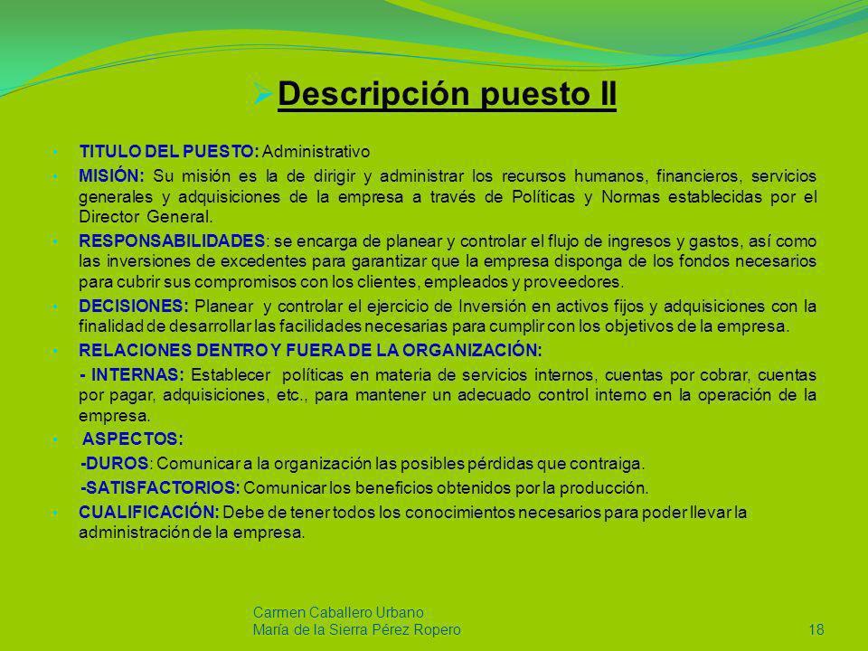 Descripción puesto II TITULO DEL PUESTO: Administrativo MISIÓN: Su misión es la de dirigir y administrar los recursos humanos, financieros, servicios