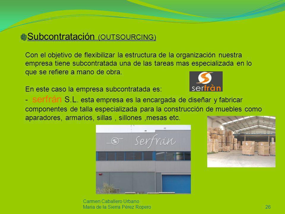 Carmen Caballero Urbano Maria de la Sierra Pérez Ropero26 Subcontratación (OUTSOURCING) Con el objetivo de flexibilizar la estructura de la organizaci