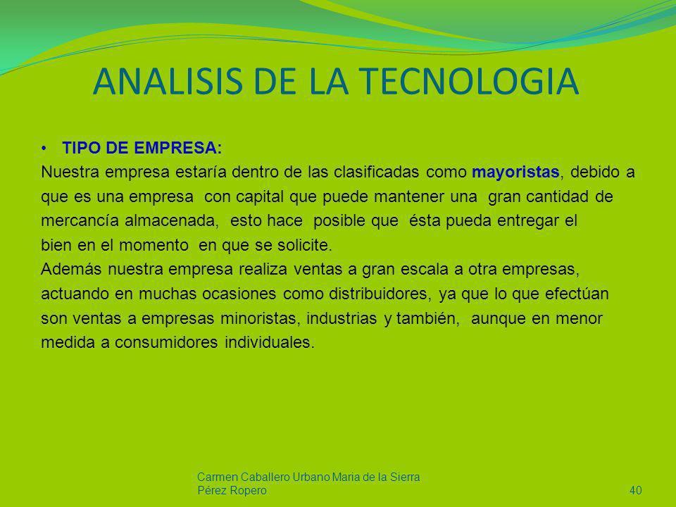 ANALISIS DE LA TECNOLOGIA TIPO DE EMPRESA: Nuestra empresa estaría dentro de las clasificadas como mayoristas, debido a que es una empresa con capital