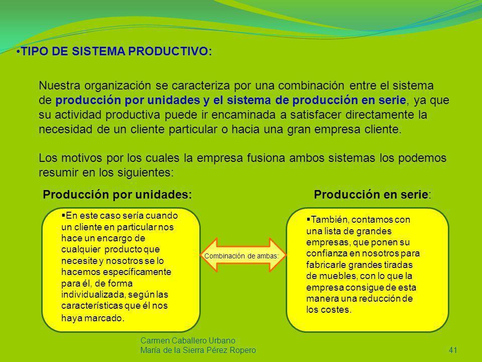 Carmen Caballero Urbano María de la Sierra Pérez Ropero41 TIPO DE SISTEMA PRODUCTIVO: Nuestra organización se caracteriza por una combinación entre el