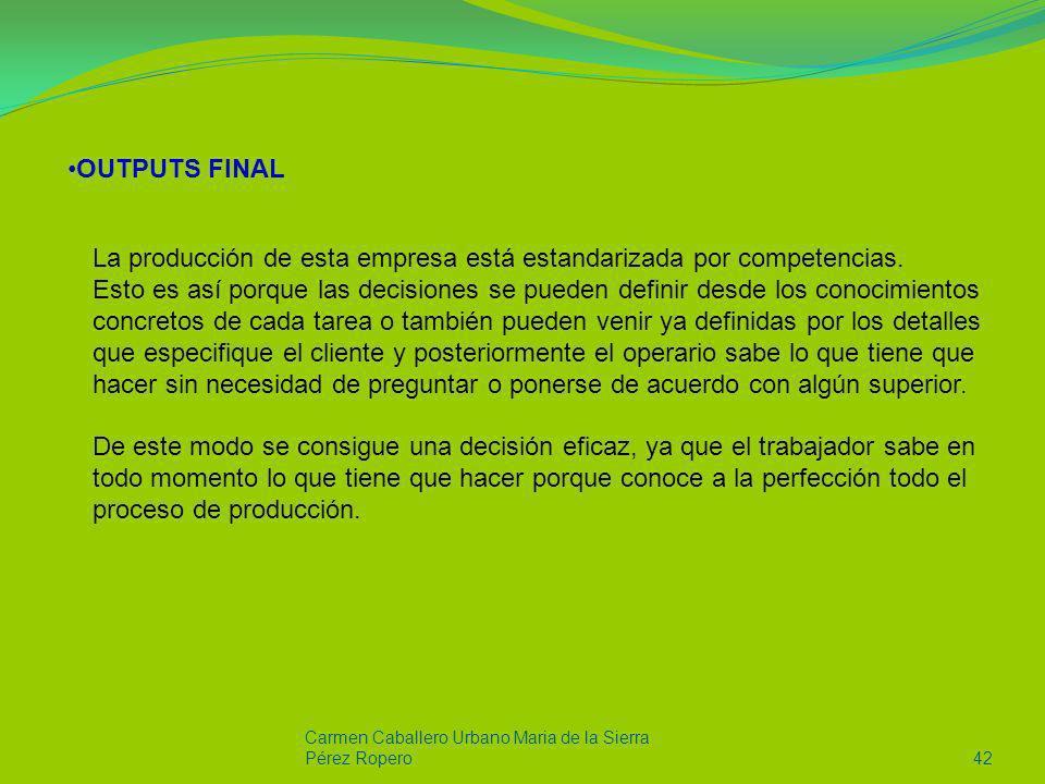 Carmen Caballero Urbano Maria de la Sierra Pérez Ropero42 OUTPUTS FINAL La producción de esta empresa está estandarizada por competencias. Esto es así