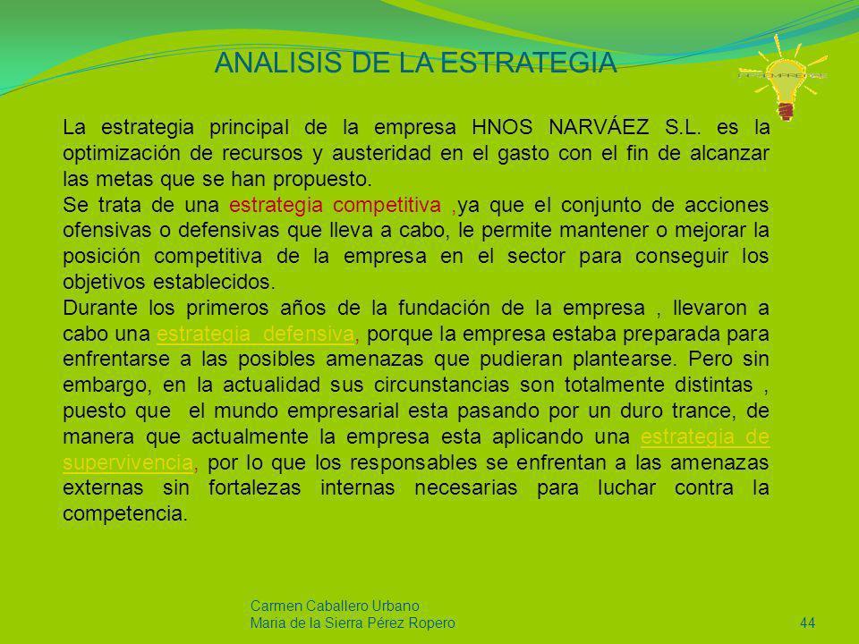 Carmen Caballero Urbano Maria de la Sierra Pérez Ropero44 ANALISIS DE LA ESTRATEGIA La estrategia principal de la empresa HNOS NARVÁEZ S.L. es la opti