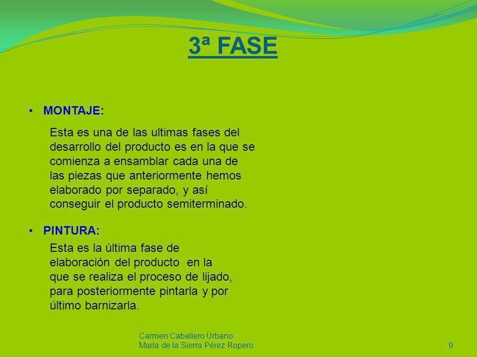 4ª FASE EMBALAJE: Carmen Caballero Urbano Maria de la Sierra Pérez Ropero10 Proceso de gran relevancia ya que su buena ejecución conlleva que el futuro comprador reciba el producto en el estado de conservación que requiere el cliente.