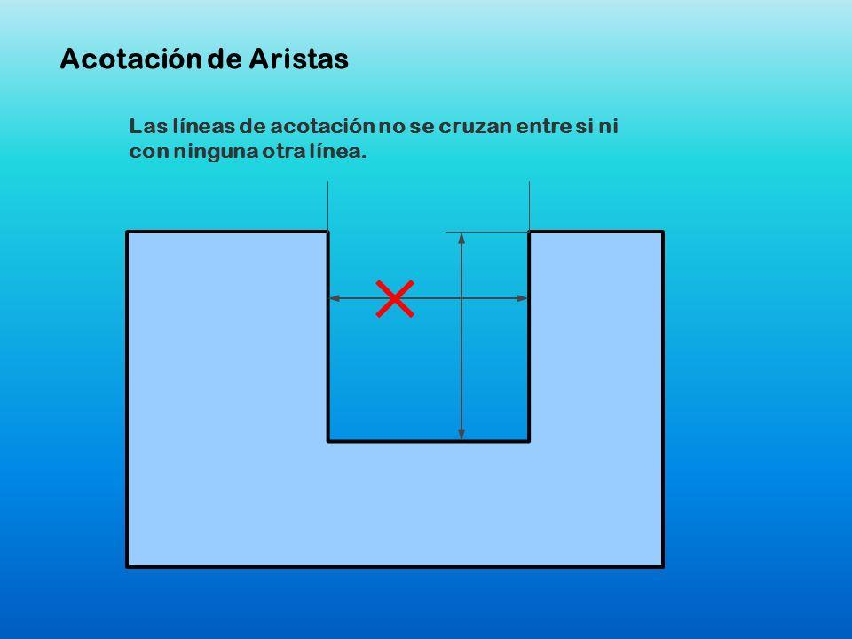 Las líneas de acotación no se cruzan entre si ni con ninguna otra línea. Acotación de Aristas