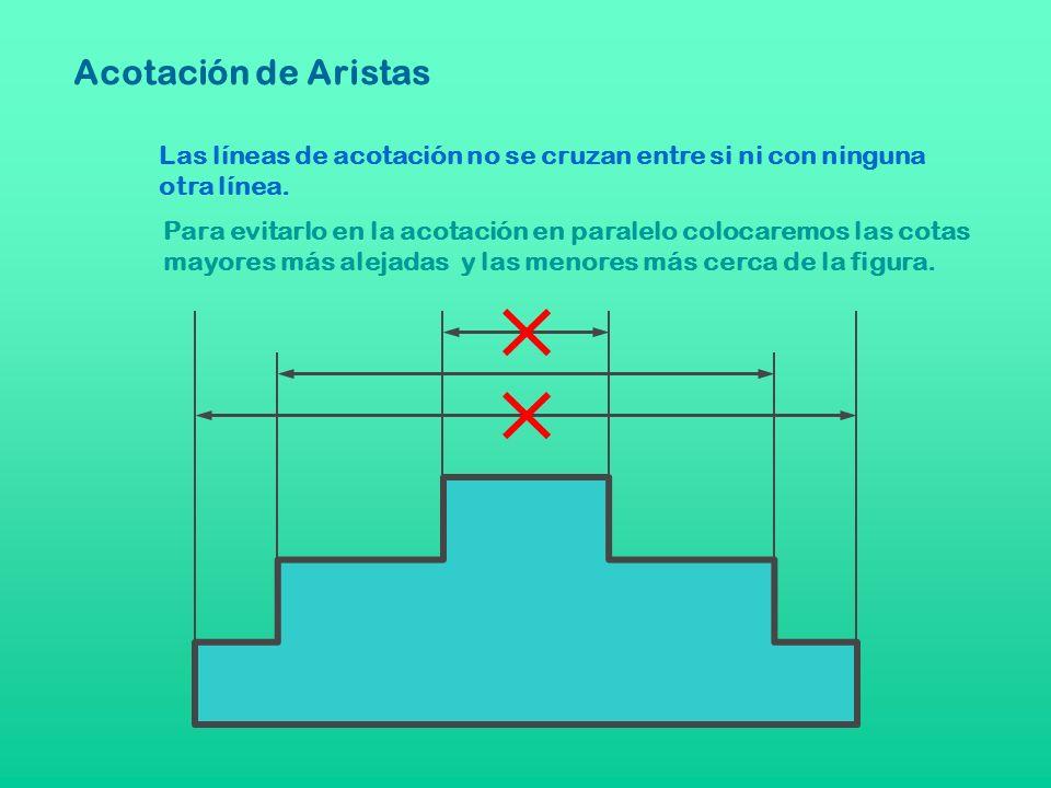 Las líneas de acotación no se cruzan entre si ni con ninguna otra línea. Para evitarlo en la acotación en paralelo colocaremos las cotas mayores más a
