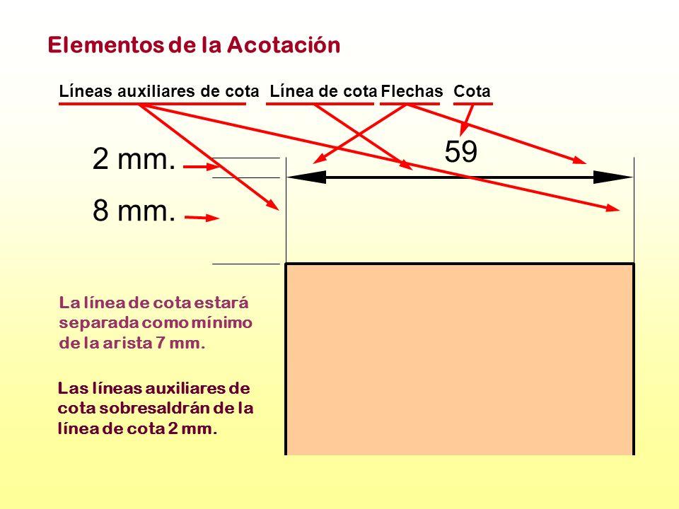 2 mm. 8 mm. 59 Línea de cotaFlechasCotaLíneas auxiliares de cota Elementos de la Acotación La línea de cota estará separada como mínimo de la arista 7
