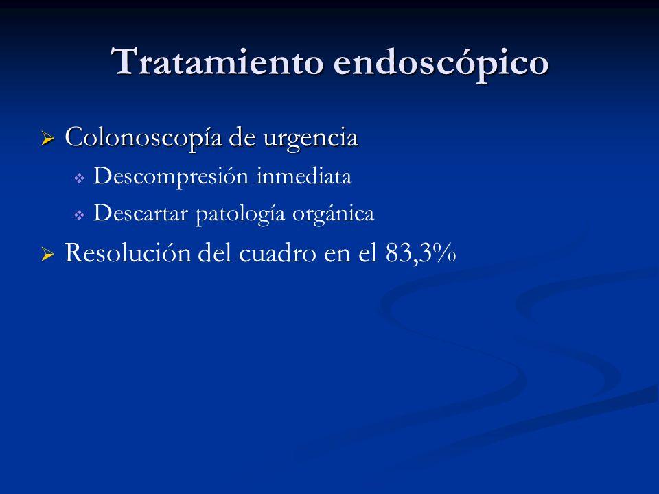 Tratamiento endoscópico Colonoscopía de urgencia Colonoscopía de urgencia Descompresión inmediata Descartar patología orgánica Resolución del cuadro e