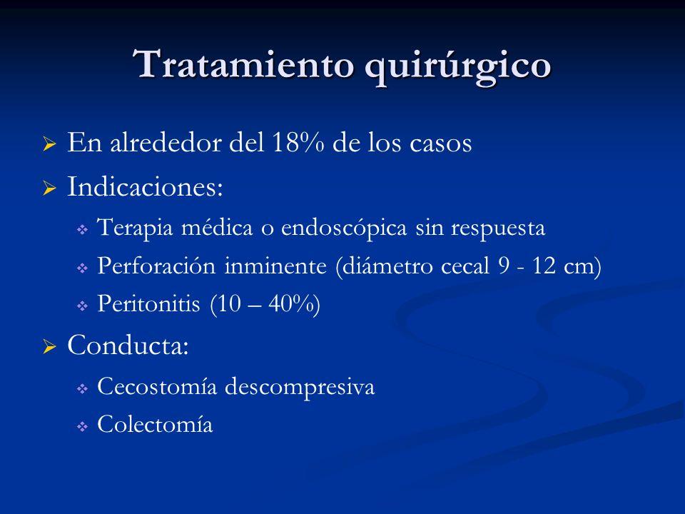 Tratamiento quirúrgico En alrededor del 18% de los casos Indicaciones: Terapia médica o endoscópica sin respuesta Perforación inminente (diámetro ceca