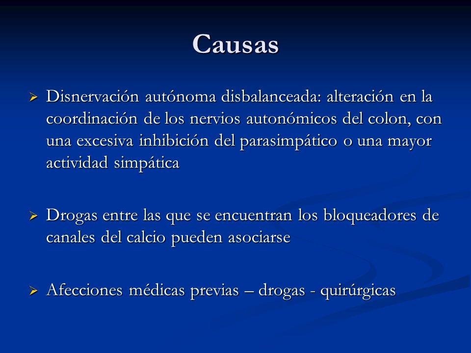 Causas Disnervación autónoma disbalanceada: alteración en la coordinación de los nervios autonómicos del colon, con una excesiva inhibición del parasi