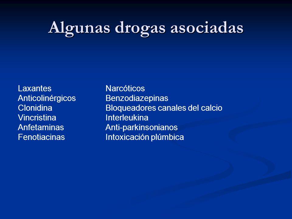 Algunas drogas asociadas Laxantes Narcóticos Anticolinérgicos Benzodiazepinas Clonidina Bloqueadores canales del calcio Vincristina Interleukina Anfet