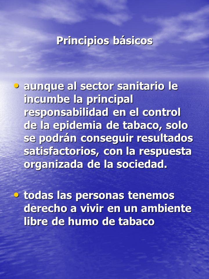 Principios básicos Principios básicos aunque al sector sanitario le incumbe la principal responsabilidad en el control de la epidemia de tabaco, solo
