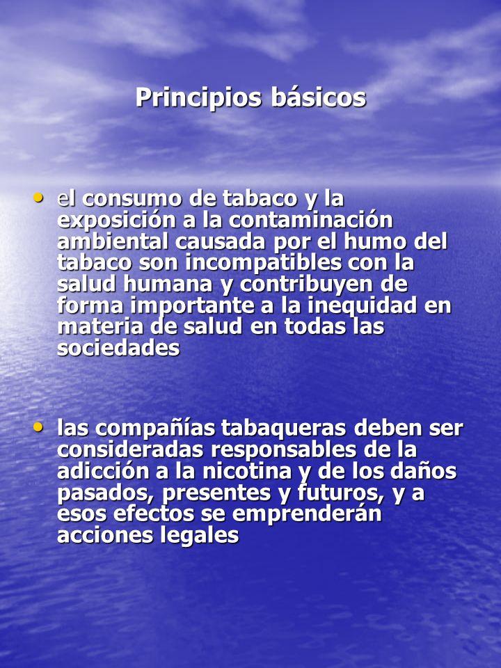 Principios básicos Principios básicos el consumo de tabaco y la exposición a la contaminación ambiental causada por el humo del tabaco son incompatibl