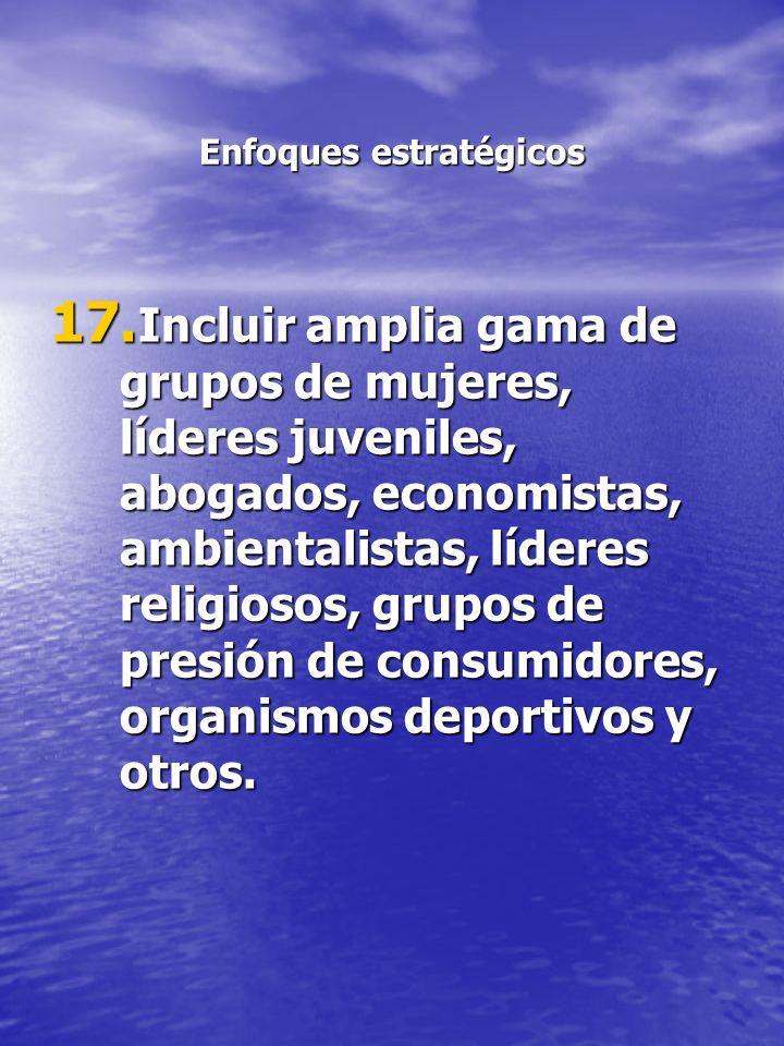 Enfoques estratégicos 17. Incluir amplia gama de grupos de mujeres, líderes juveniles, abogados, economistas, ambientalistas, líderes religiosos, grup