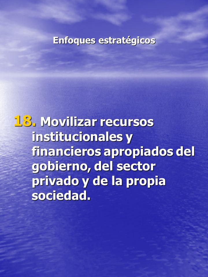 Enfoques estratégicos 18. Movilizar recursos institucionales y financieros apropiados del gobierno, del sector privado y de la propia sociedad.