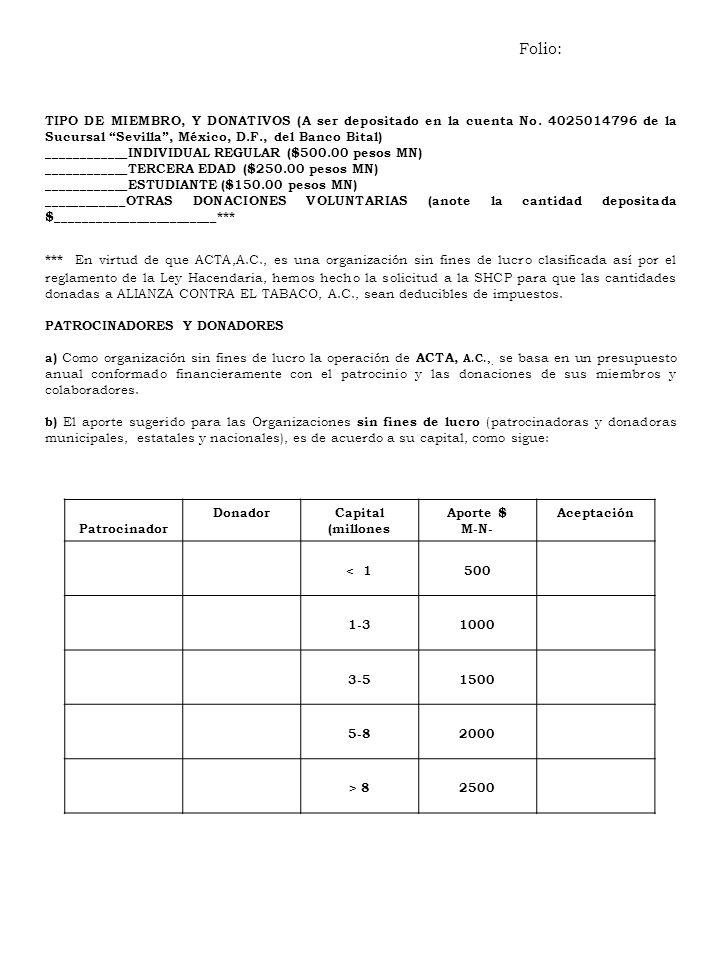 TIPO DE MIEMBRO, Y DONATIVOS (A ser depositado en la cuenta No. 4025014796 de la Sucursal Sevilla, México, D.F., del Banco Bital) ____________INDIVIDU