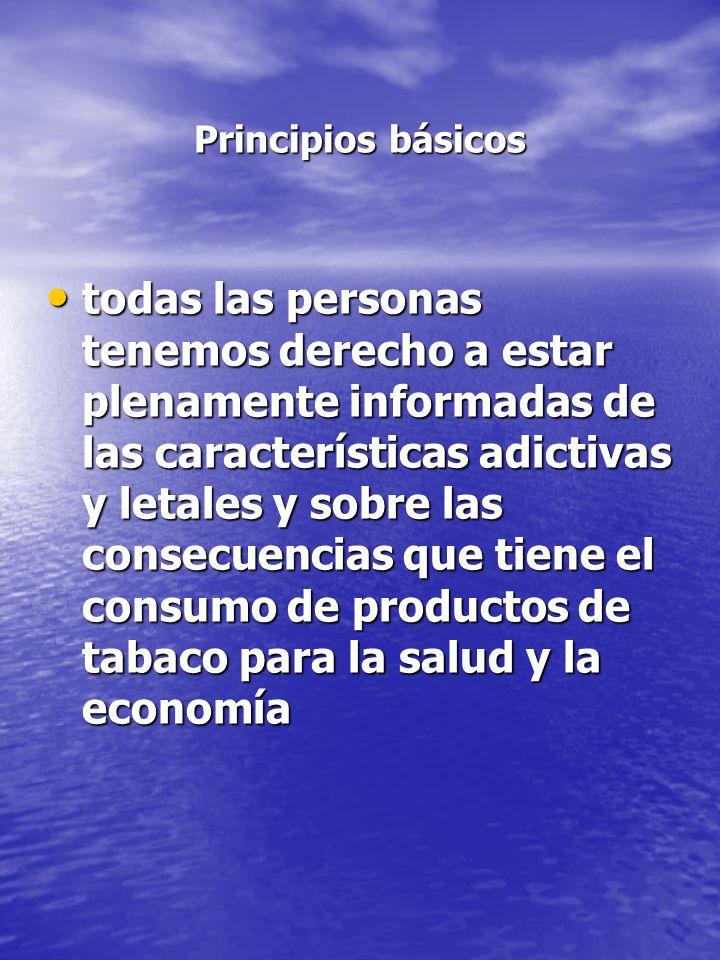 Principios básicos Principios básicos todas las personas tenemos derecho a estar plenamente informadas de las características adictivas y letales y so