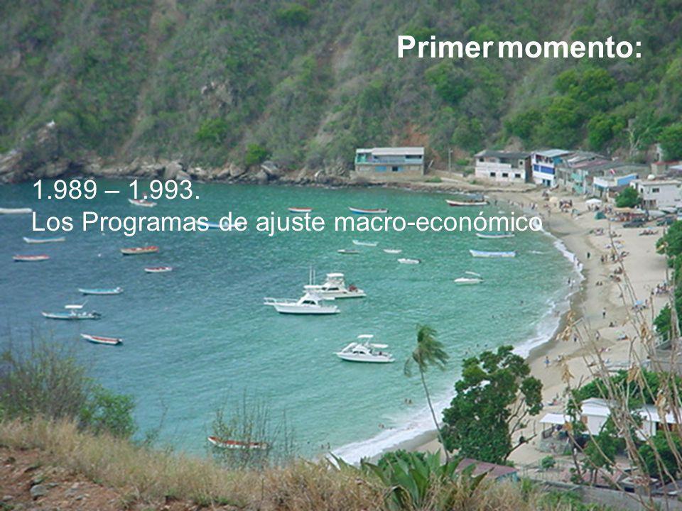 Primer momento: 1.989 – 1.993. Los Programas de ajuste macro-económico