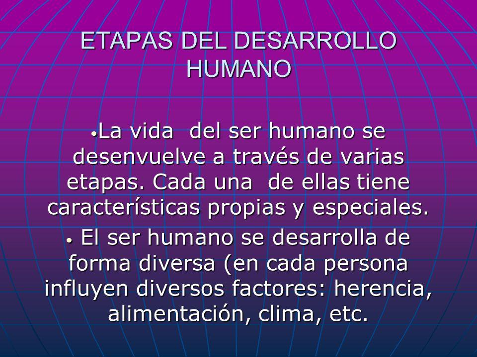 ETAPAS DEL DESARROLLO HUMANO La vida del ser humano se desenvuelve a través de varias etapas. Cada una de ellas tiene características propias y especi