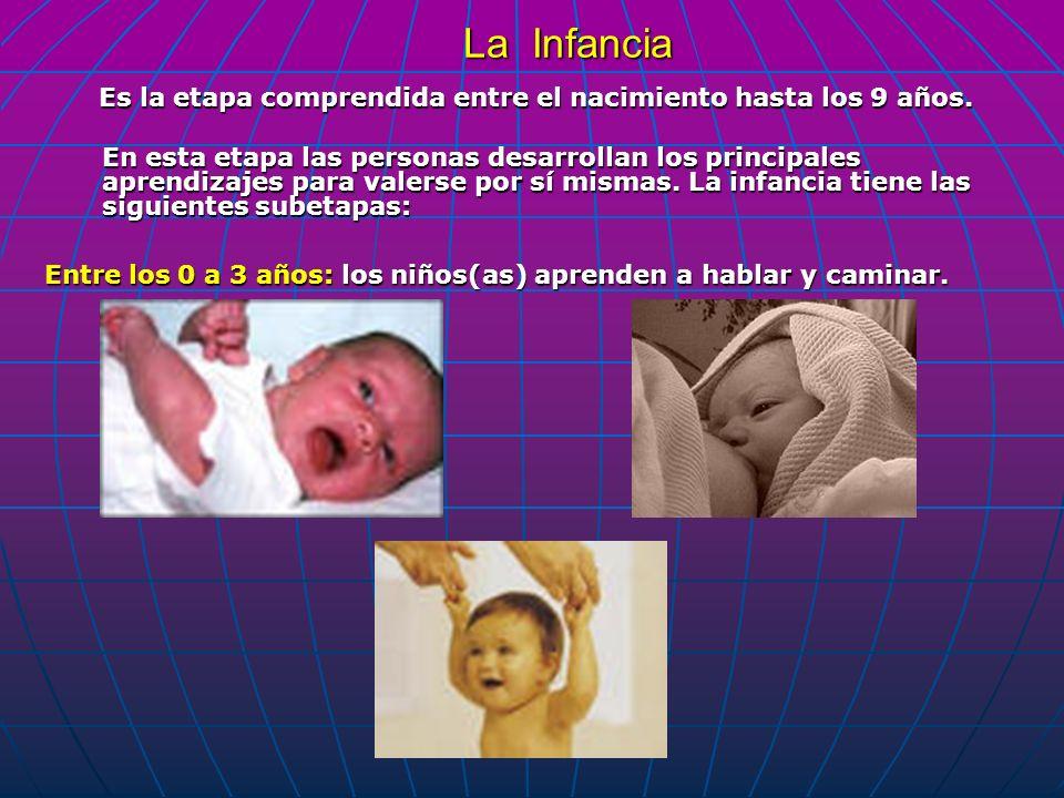 La Infancia Es la etapa comprendida entre el nacimiento hasta los 9 años. En esta etapa las personas desarrollan los principales aprendizajes para val